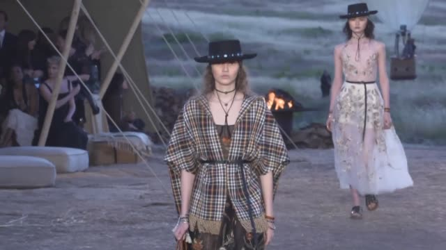 the glamour of france's fashion industry hits los angeles as dior lures a bevy of stars to the santa monica mountains for its latest runway show - cruise collection stock videos & royalty-free footage