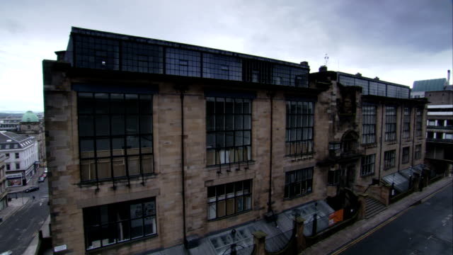 The Glasgow School of Art facade features balconies and several windows. Available in HD.