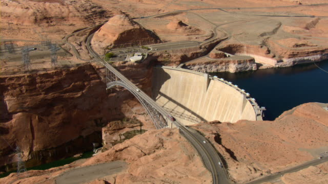 the glen canyon dam blocks the waters of the colorado river at arizona's grand canyon. - grand canyon stock videos & royalty-free footage