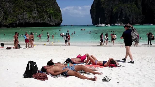 the glittering thai bay immortalised in the movie the beach will be closed indefinitely to allow it to recover from the impact of hordes of tourists... - temporary stock videos & royalty-free footage