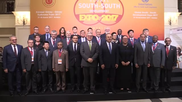The Global SouthSouth Development Expo 2017 kicks off in Antalya Turkey on November 27 2017 Turkish Foreign Minister Mevlut Cavusoglu delivers a...