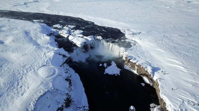 the godafoss or water of gods is a big waterfall located in northeastern region in iceland,europe. it is a beautiful scene by drone eye view or aerial view. - falling water stock videos & royalty-free footage