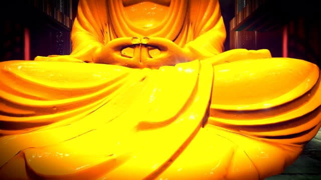 The Golden Buddha statue in a shrine
