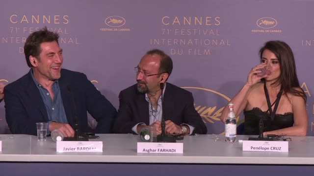 The golden couple of Spanish cinema Javier Bardem and Penelope Cruz join Iranian director Asghar Farhadi for the press conference of Spanish...