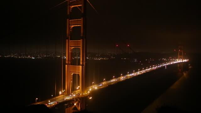 vídeos y material grabado en eventos de stock de the golden gate bridge at night and cars traveling on it. - bahía de san francisco