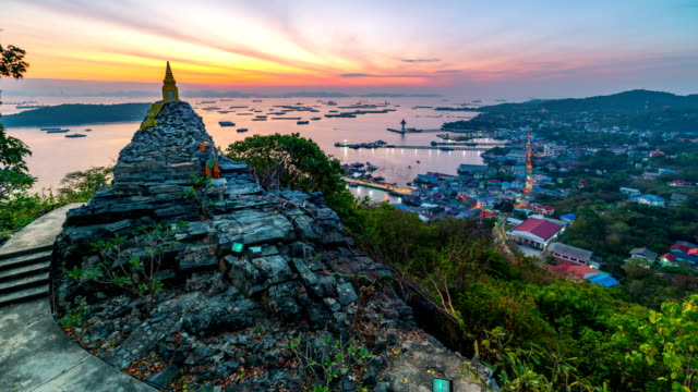 the golden pagoda is located on the hilltop to see the sunrise at the sea in the morning - chonburi province stock videos & royalty-free footage