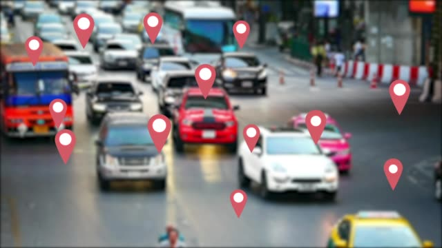 the google map symbol appears on vehicles that use the application map gps on the streets of the capital. - map icon stock videos and b-roll footage