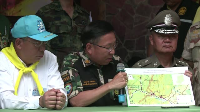 the governor of thailand's chiang rai province says the 12 boys and their football coach trapped in a flooded cave are training to use diving masks... - chiang rai province stock videos and b-roll footage