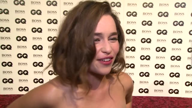 the gq men of the year awards 2015:; emelia clarke interview sot - her favourite part of a man - their ability to take out the rubbish / on girl... - terminator stock videos & royalty-free footage