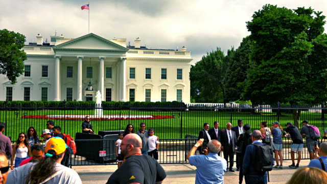 the grand beautiful white house across the fence. tourists. trees. people. busy. - political rally stock videos & royalty-free footage