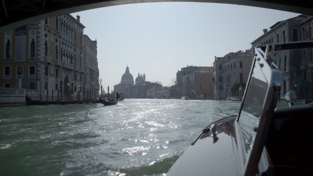 the grand canal from a speedboat / venice, italy - boat point of view stock videos & royalty-free footage