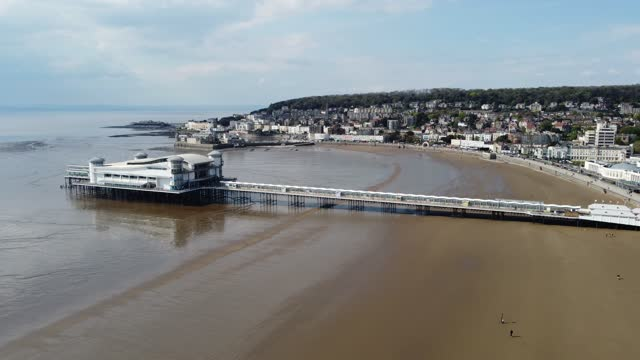 the grand pier at low tide is seen from the air on may 01, 2021 in weston-super-mare, england. the north somerset town is a popular day trip and... - pier stock videos & royalty-free footage