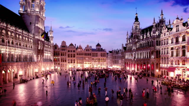 il grand posto di bruxelles, belgio - regione di bruxelles capitale video stock e b–roll