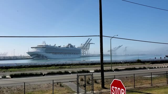 the grand princess cruise ship, docked at the port of oakland, discharges passengers exposed to the covid-19 coronavirus in preparation for... - cruise collection stock videos & royalty-free footage
