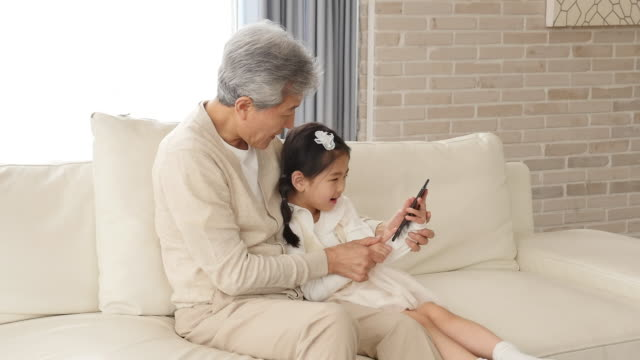 the grandfather and granddaughter use a smartphone sitting on the couch - 祖父点の映像素材/bロール