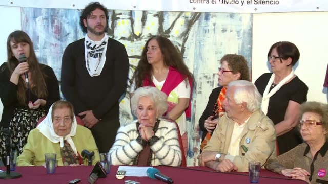 the grandmothers of plaza de mayo organization called on argentines to choose daniel scioli rather than mauricio macri on sunday in the second round... - mauricio macri stock videos and b-roll footage