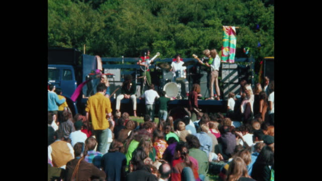 the grateful dead plays at the human be-in - summer solstice, hippies and rock and roll in golden gate park - 1967 stock videos & royalty-free footage