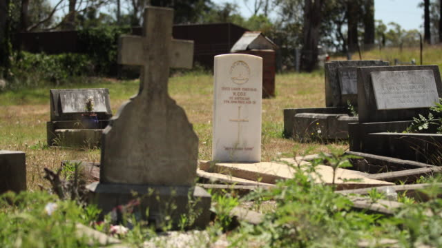 the grave of an australian soldier is seen in the cemetery at badgerys creek in sydney's west on november 07 2016 in sydney australia the information... - imperium bildbanksvideor och videomaterial från bakom kulisserna