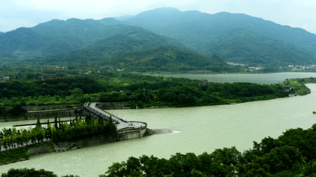 the great ancient water conservancy project - dujiangyan irrigation system - pilot fish stock videos & royalty-free footage