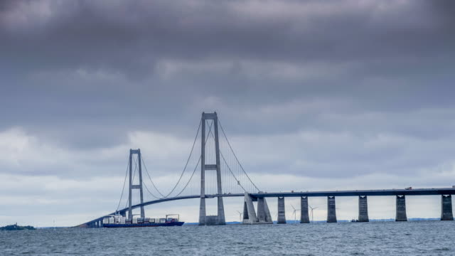 the great belt bridge, denmark - dusk stock videos & royalty-free footage