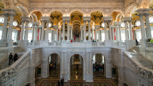 the great hall in the thomas jefferson building, library of congress, washington dc, usa - united states congress点の映像素材/bロール