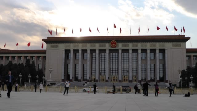 the great hall of the people,beijing,china - politics stock-videos und b-roll-filmmaterial