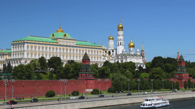 the great kremlin palace and moskva river, moscow, russia - palace video stock e b–roll
