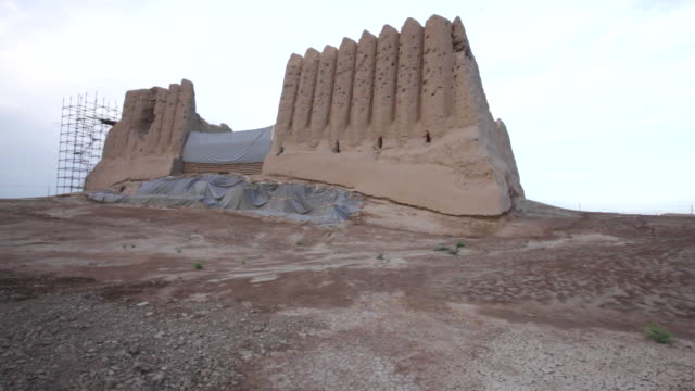 "The Great Kyz Kala, or ""Maiden's Castle,"" is the largest in a group of buildings outside the west wall of Sultan Kala in the ancient Merv, Turkmenistan"
