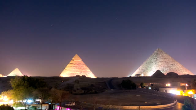 the great pyramid at night in giza, egypt - pyramid stock videos and b-roll footage