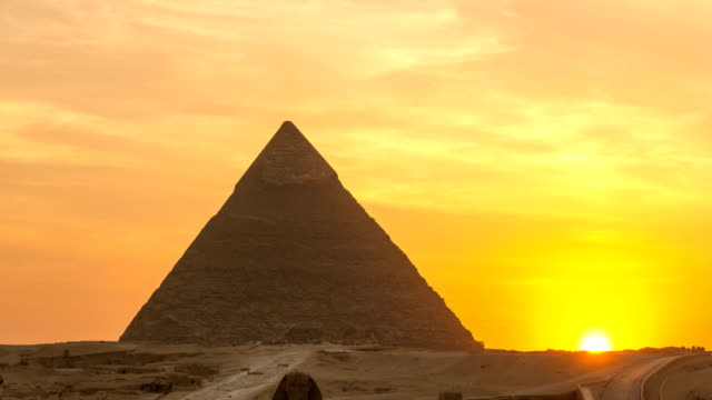The Great pyramid time lapse on sunset in Giza, Egypt