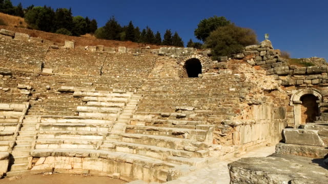 The Great Theatre in the ancient city of Ephesus on September 18 2017 in Izmir Turkey The ancient city of Ephesus continues to draw visitors as one...