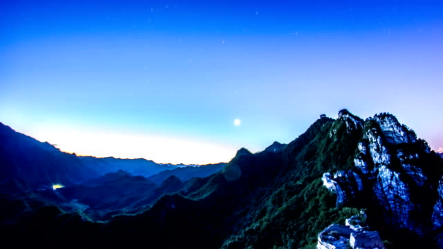 The Great Wall of China stars to day timelapse