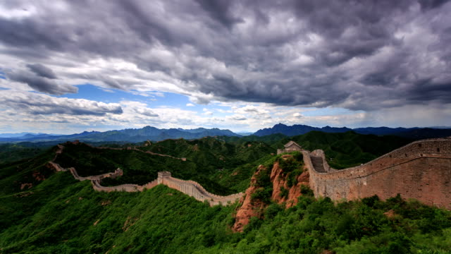 t/l ws ha the great wall under rolled clouds / beijing, china - great wall of china stock videos & royalty-free footage