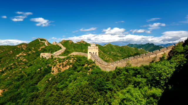 t/l ws the great wall under rolled clouds / beijing, china - great wall of china stock videos & royalty-free footage