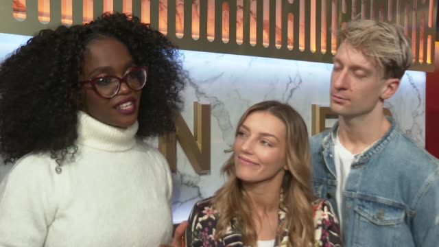 vidéos et rushes de the greatest dancer red carpet ahead of final england london ext oti mabuse and and her finalists michael and jowita interview sot part 2 of 2 - concurrent