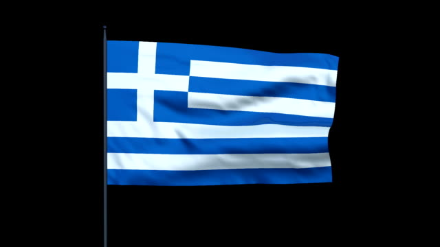the greek flag waves against a black background. - greek flag stock videos & royalty-free footage