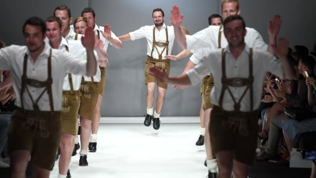 The group 'D'Gaflenza SchuahPlattla' perform at the Sportalm Kitzbuehel show during the Berlin Fashion Week Spring/Summer 2019 at ewerk on July 4...