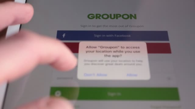 The Groupon Inc application is seen in the App Store on an Apple Inc iPad in this arranged photograph taken in Washington DC US on Friday Nov 10 2017...