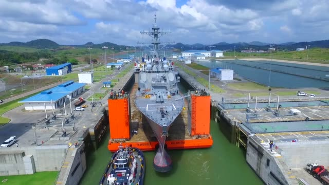 the guidedmissile destroyer uss fitzgerald makes it passage through the cocolí locks at the panama canal in panama on route to mississippi for... - panama canal stock videos & royalty-free footage