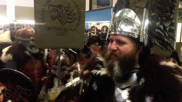 The Guizer Jarl Lyle Gairmand his Jarl Squad sing at the Up Helly Aa festival in Lerwick on January 31 in the Shetland Islands Scotland The...