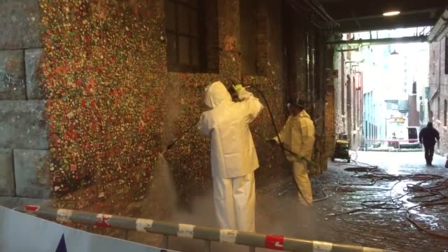 the gum wall at pike place market in seattle is given its first full clean in 20 years - pike place market stock videos and b-roll footage