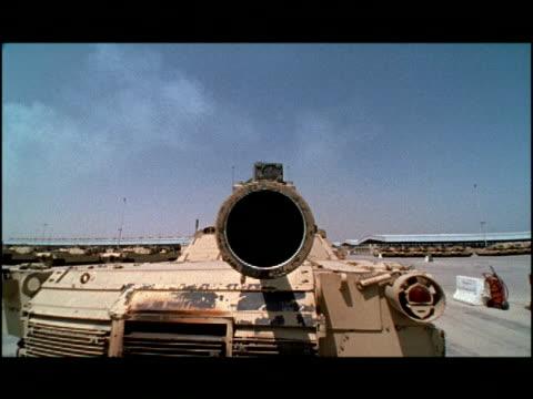 the gun barrel of an m1 abrams tank is seen close up. - gun barrel stock videos & royalty-free footage