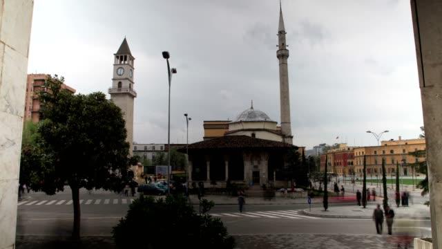 the hadji et'hem bey mosque and clock tower - tirana stock videos & royalty-free footage