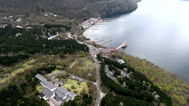 The Hakone Ropeway cable car line resumed partial service on April 23 2016 in Hakone Japan nearly a year after operations were suspended because of a...