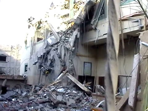 the hamas television channel is keeping up the fight for gaza's airwaves from mobile studios after its headquarters was reduced to rubble in an air... - rubble stock-videos und b-roll-filmmaterial