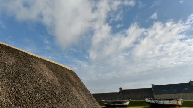 the hamlet of meneham-finistere - thatched roof stock videos & royalty-free footage