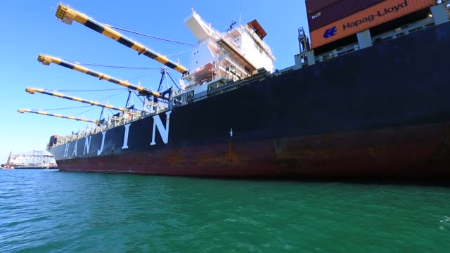 The Hanjin Boston is pictured being offloaded at the YTI Terminal in the Port of Los Angeles CA on September 15 2016 Shots slow pan left of docked...