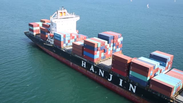 The Hanjin Shipping Co Montevideo container ship sits anchored near the Port of Long Beach in this aerial photograph taken above Long Beach...