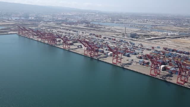the hanjin shipping co montevideo container ship sits anchored near the port of long beach in this aerial photograph taken above long beach... - anchored stock videos & royalty-free footage