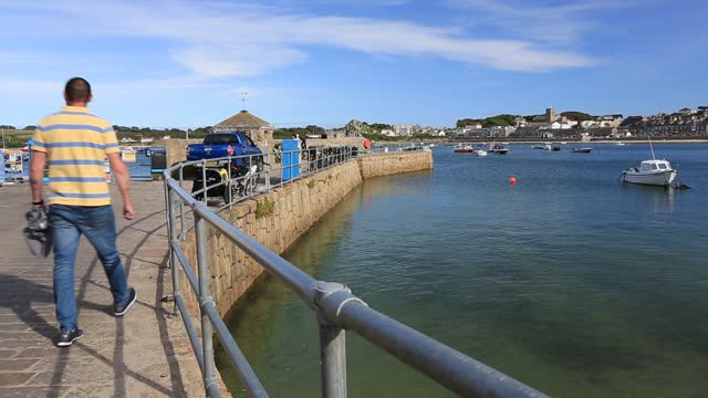 the harbour at hugh town, st mary's scilly isles. - sailing boat stock videos & royalty-free footage